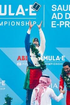 Antonio Felix da Costa, BMW I Andretti Motorsports celebrates victory on the podium, throwing his trophy into the air
