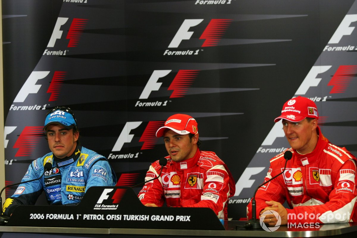 The post race FIA Press Conference: Fernando Alonso, Renault, second; Felipe Massa, Ferrari, race winner; Michael Schumacher, Ferrari, third