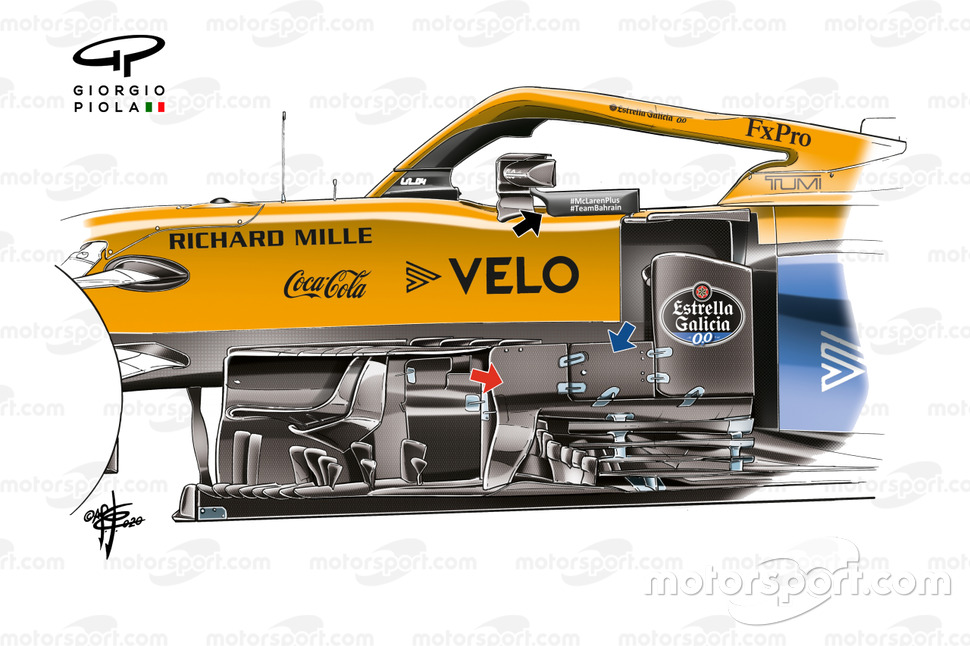 McLaren made subtle changes to the MCL35M's bargeboard area.
