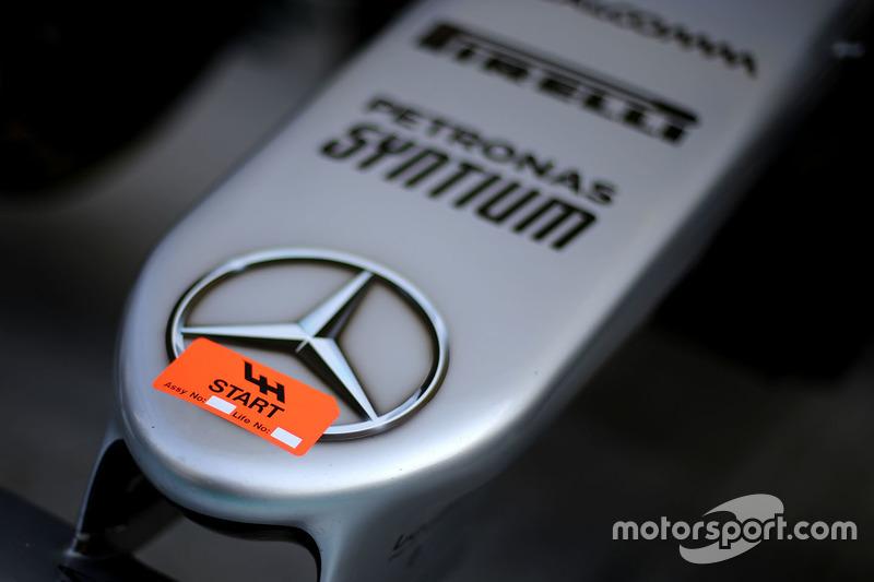 Detail: Auto von Lewis Hamilton, Mercedes AMG F1 W07 Hybrid