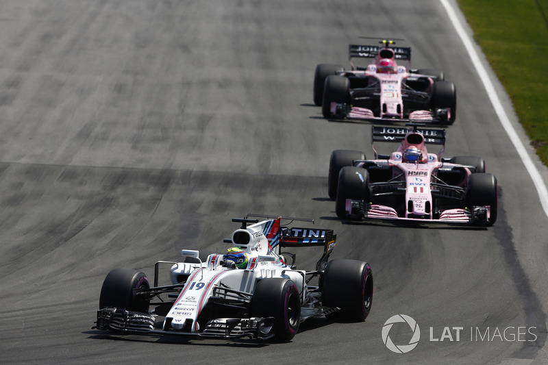 Felipe Massa, Williams FW40, Sergio Perez, Sahara Force India F1 VJM10, Esteban Ocon, Sahara Force I