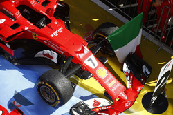 The car of Kimi Raikkonen, Ferrari SF70H, second place, in Parc Ferme