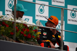 second place Lewis Hamilton, Mercedes AMG F1, Max Verstappen, Red Bull Racing, race winner, talk on the podium
