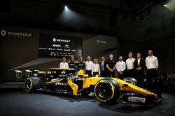 (L to R): Bob Bell, Renault Sport F1 Team Chief Technical Officer; Nico Hulkenberg, Renault Sport F1 Team; Jolyon Palmer, Renault Sport F1 Team; Jerome Stoll, Renault Sport F1 President; Alain Prost, Renault Sport F1 Team Third Driver; Thierry Koskas, Rena