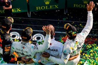 Max Verstappen, Red Bull Racing, 3rd position, Valtteri Bottas, Mercedes AMG F1, 1st position, and Lewis Hamilton, Mercedes AMG F1, 2nd position, on the podium