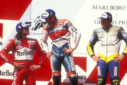 Podium: winner Mick Doohan, Repsol Honda Team, second place Alex Barros, Honda, third place Loris Capirossi, Yamaha