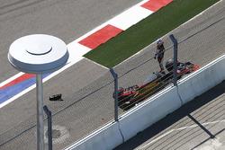 Romain Grosjean, Haas F1 Team, retires after a collision