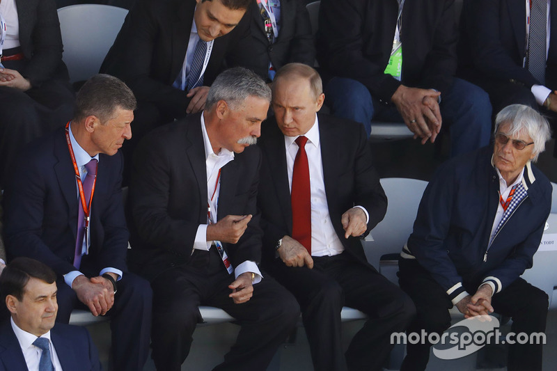 Russian Prime Minister Dimitry Medvedev, Chase Carey, Chairman, Formula One, President Vladimir Putin and Bernie Ecclestone, Chairman Emeritus of Formula 1