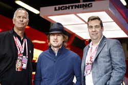 Disney's Kevin Reher and Brian Fee, Actor Owen Wilson in the Cars 3 Promotional garage