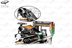 DUPLICATE: Force India VJM07 engine cover revision (enlarged shark fin, due to internal pipework and cooler changes)