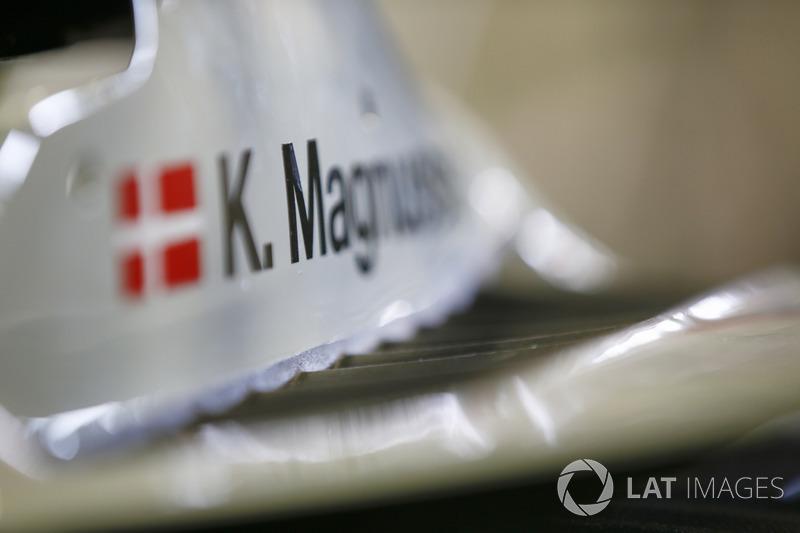 Detalle de la cabina de Kevin Magnussen, Haas F1 Team, VF-18 Ferrari