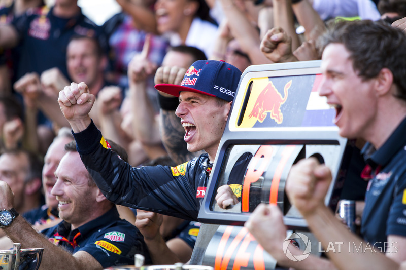 Max Verstappen celebrates his first F1 win with Red Bull