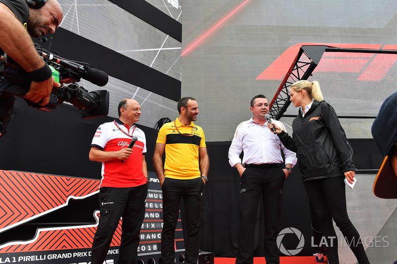 Frederic Vasseur, Sauber, Team Principal, Cyril Abiteboul, Renault Sport F1 y Eric Boullier, McLaren Racing Director