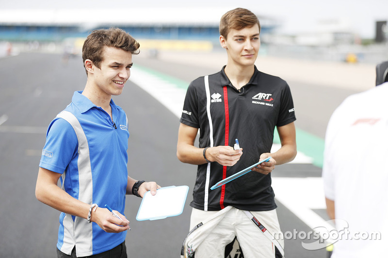 Lando Norris, Carlin e George Russell, ART Grand Prix