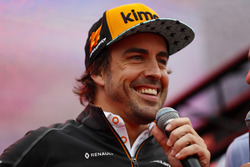 Fernando Alonso, McLaren, is interviewed on stage