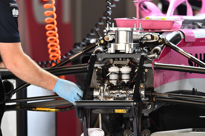 Force India VJM11 chassis and front suspension detail