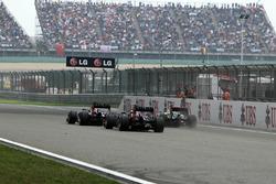 Mark Webber, Red Bull Racing RB8, Sebastian Vettel, Red Bull Racing RB8 and Lewis Hamilton, McLaren MP4-27 battle