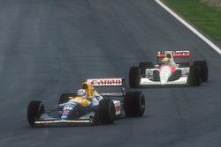 Nigel Mansell, Williams FW14 Renault, Ayrton Senna, McLaren MP4/6 Honda