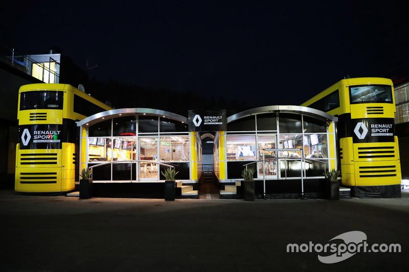 Renault Sport F1 Team motorhome at night
