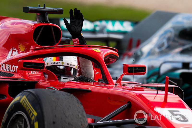 Sebastian Vettel, Ferrari SF71H celebrates