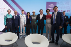 Luca Filippi, NIO Formula E Team with Angelo Sticchi Damiani, President of ACI, Sébastien Buemi, Renault e.Dams, Virginia Raggi, Mayor of Rome, Nelson Piquet Jr., Jaguar Racing, Alejandro Agag, Formula E CEO, Founder, CEO of the FIA Formula E Championship,
