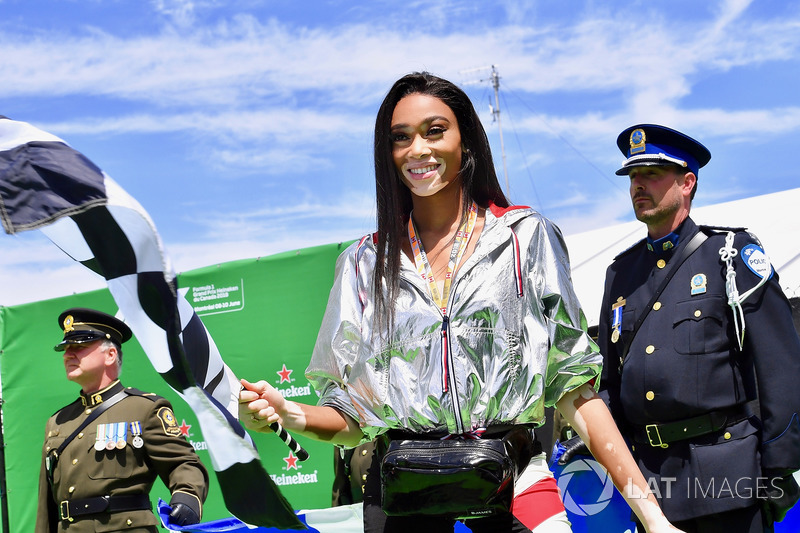 Winne Harlow, with the chequered flag
