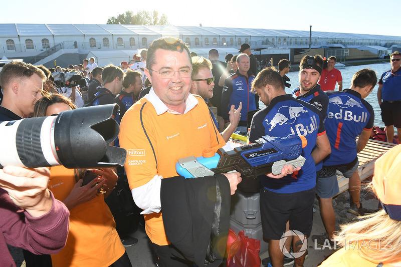 Eric Boullier, McLaren Racing Director at the raft race