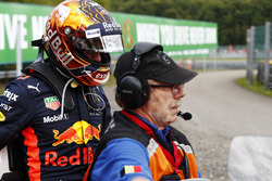 Max Verstappen, Red Bull Racing on a motorcycle after retiring