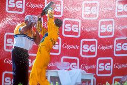 Podium: race winner Michael Schumacher, Benetton, Flavio Briatore
