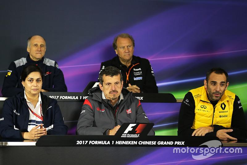 Pressekonferenz: Franz Tost, Toro Rosso; Robert Fearnley, Force India; Monisha Kaltenborn, Sauber; Günther Steiner, Haas; Cyril Abitebou, Renault