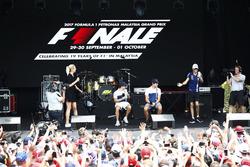 Felipe Massa, Williams, Lance Stroll, Williams, Esteban Ocon, Force India, on the F1 stage
