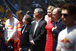 Max Verstappen, Red Bull, Sebastian Vettel, Ferrari, Jean Todt, President, FIA, Chase Carey, Chairman, Formula One, Princess Charlene and Prince Albert II of Monaco stand for the national anthem