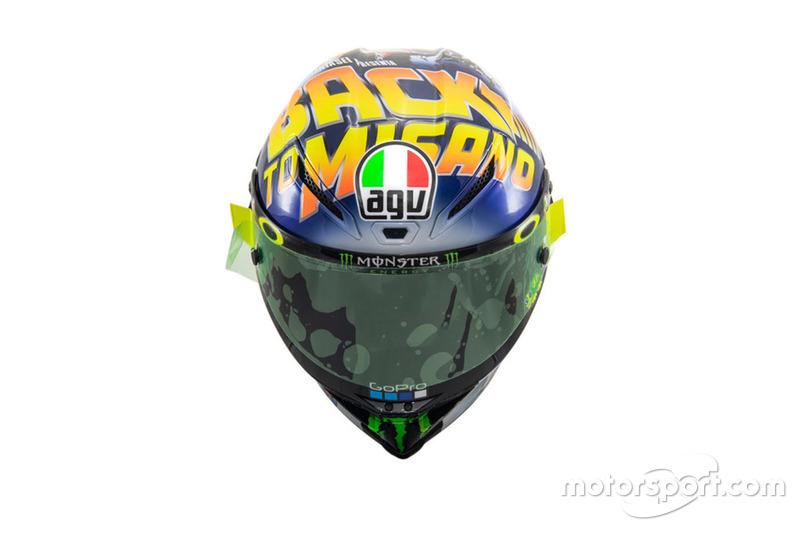 Helmdesign von Valentino Rossi, Yamaha Factory Racing, für den GP San Marino 2018 in Misano