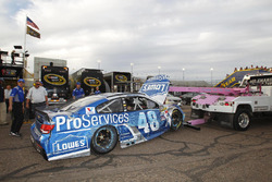The car of Jimmie Johnson, Hendrick Motorsports Chevrolet after the crash