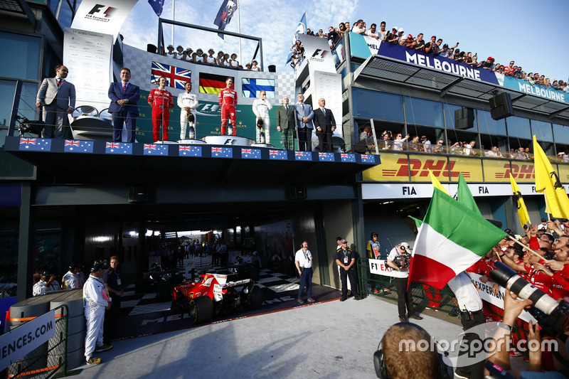 Luigi Fraboni, Ferrari, Lewis Hamilton, Mercedes AMG,  Sebastian Vettel, Ferrari, Valtteri Bottas, Mercedes AMG