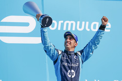 Sébastien Buemi, Renault e.Dams, celebrates on the podium