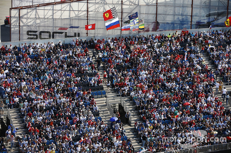 Crowds in the grandstands