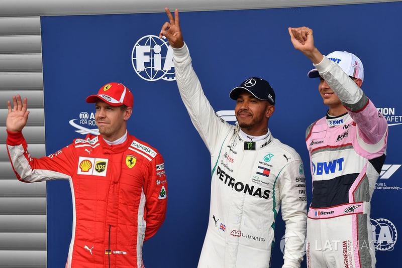 Segundo Sebastian Vettel, Ferrari, ganador de la pole Lewis Hamilton, Mercedes AMG F1 y tercero Esteban Ocon, Racing Point Force India F1 Team