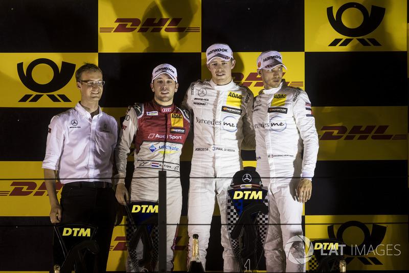 Podio: Paul Di Resta, Mercedes-AMG Team HWA, Mercedes-AMG C63 DTM, Robin Frijns, Audi Sport Team Abt Sportsline, Audi RS5 DTM y Edoardo Mortara, Mercedes-AMG Team HWA, Mercedes-AMG C63 DTM