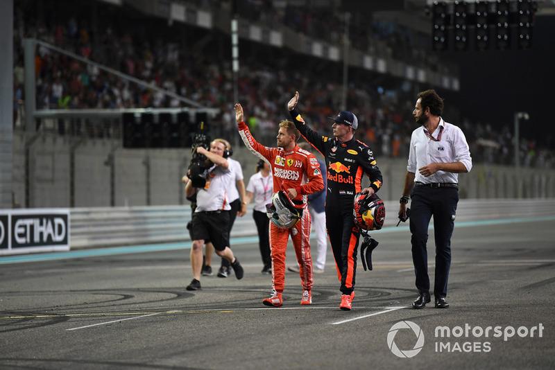 Sebastian Vettel, Ferrari and Max Verstappen, Red Bull Racing celebrate in Parc Ferme
