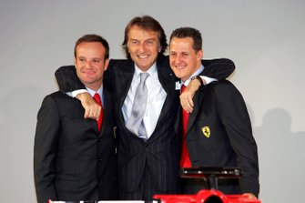 Luca Di Montezemolo, Ferrari President, with drivers Rubens Barrichello and Michael Schumacher, at the launch of the F2005