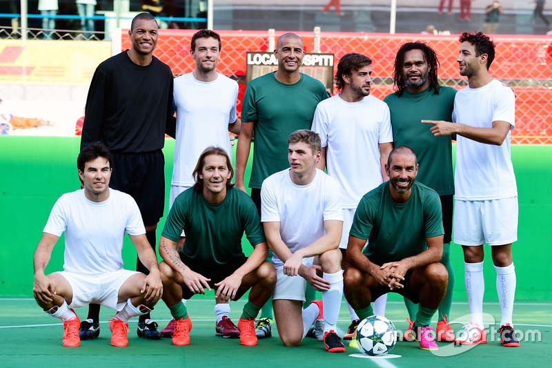 Line up at the charity 5-a-side football match. F1 drivers (L to R): Sergio Perez, Sahara Force Indi