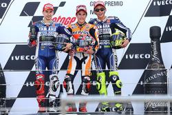 Podium: Sieger Marc Marquez, Repsol Honda; 2. Jorge Lorenzo, Yamaha; 3. Valentino Rossi, Yamaha