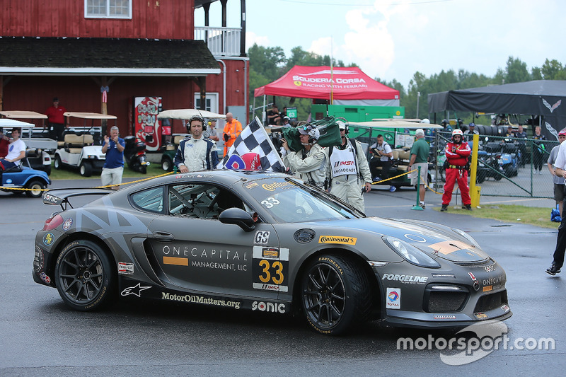 Race winners #33 CJ Wilson Racing Porsche Cayman GT4: Daniel Burkett, Marc Miller