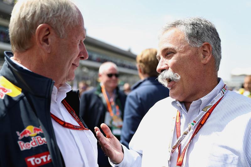 تشايس كاري، رئيس مجلس إدارة مجموعة الفورمولا واحد ود.هيلموت ماركو، مستشار فريق ريد بُل
