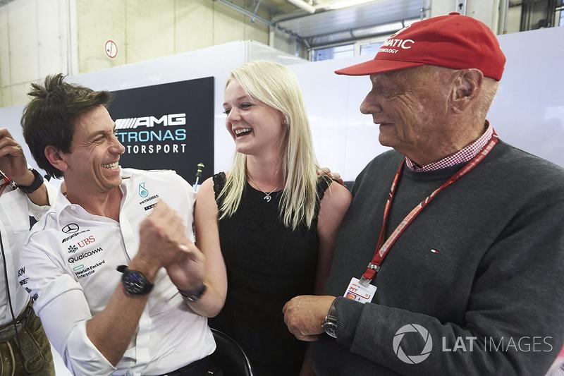 Toto Wolff, Executive Director, Mercedes AMG, Emilia Bottas and Niki Lauda, Non-Executive Chairman, Mercedes AMG