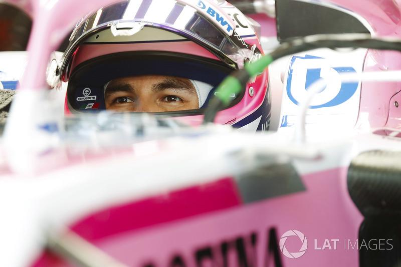 Sergio Perez, Force India, in cockpit with helmet visor raised