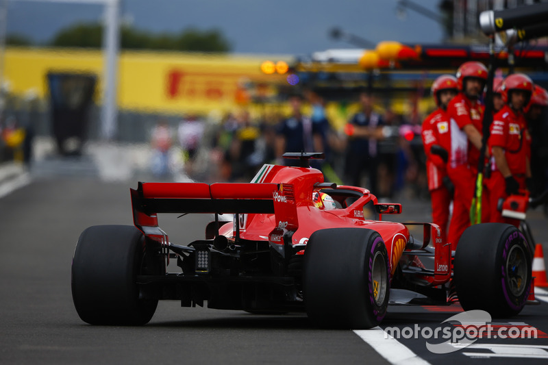 Sebastian Vettel, Ferrari SF71H, comes into the pits during Qualifying