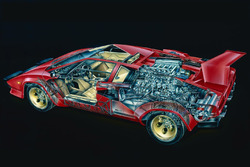 Lamborghini Countach Cutaway by David Kimble