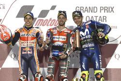 Podium: segundo, Marc Marquez, Repsol Honda Team, Ganador, Andrea Dovizioso, Ducati Team, tercero, Valentino Rossi, Yamaha Factory Racing